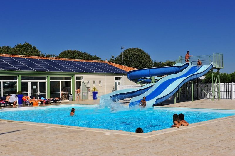 Outdoor pool with water slides