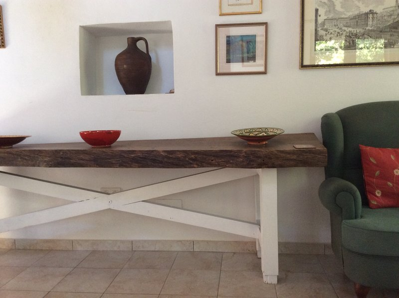 Old oak table in the living area