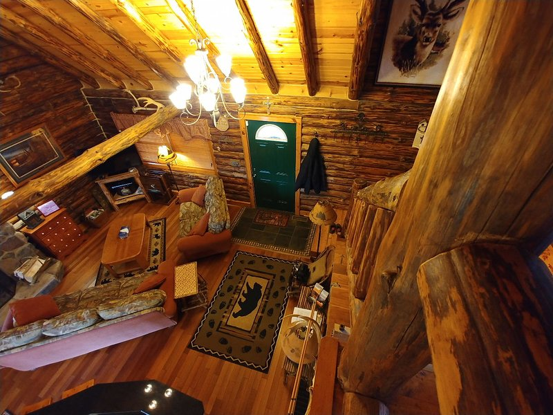 View from the loft of the front door and great room area of Possum Lodge.