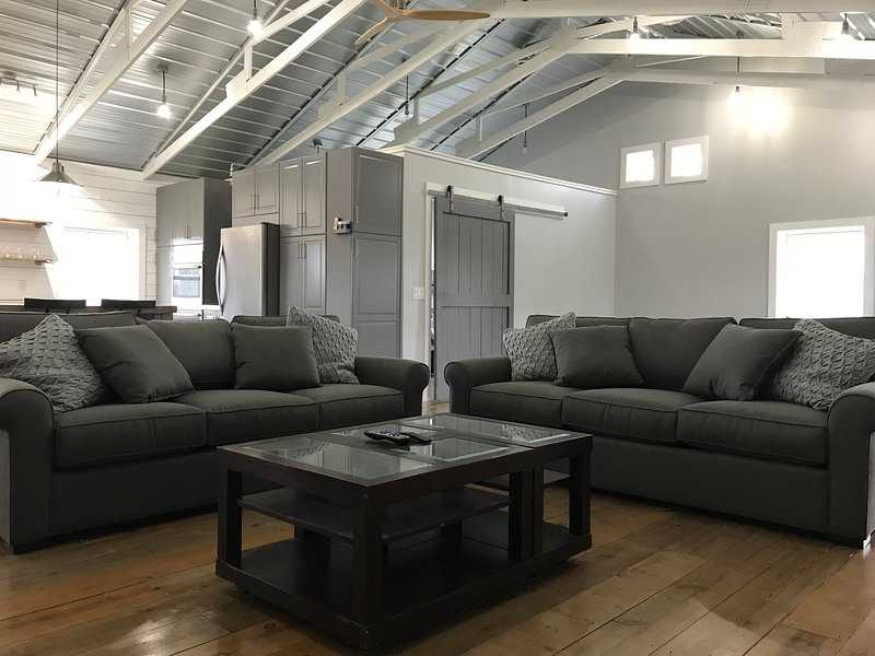 The loft seating area. One sofa is a queen pull out bed.