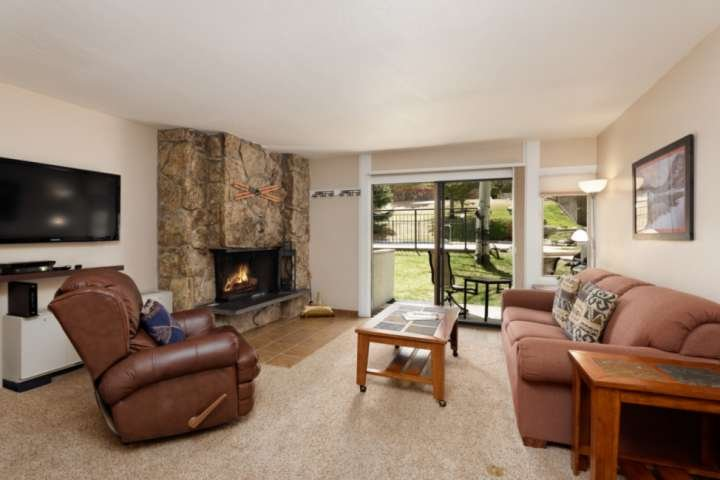 Enjoy the premier location of this Lichenhearth condo.  Ski-in to the back door and walk out to the pool and hot tub area.