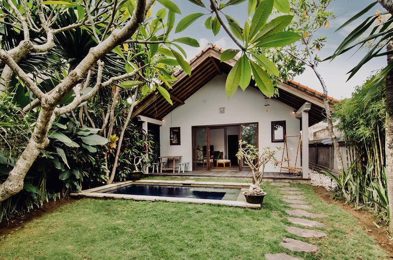 The villa is A-frame style in design, bright with large french windows on most sides.