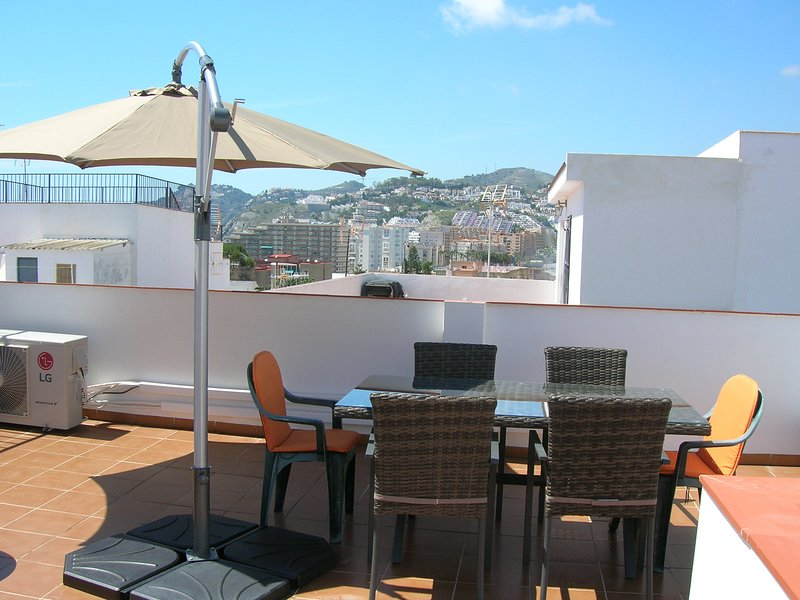 The view over the hills from the sunny top terrace.