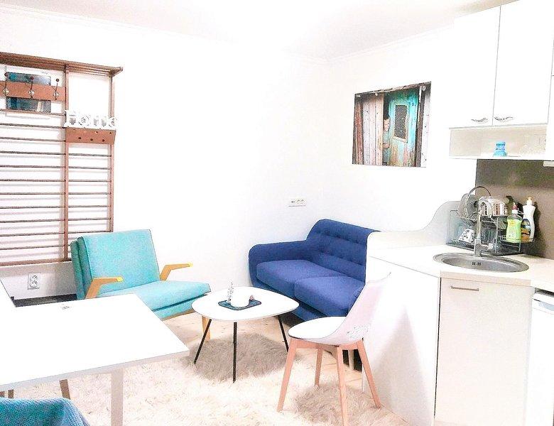 sala de estar, cocina y mesa de comedor extensible