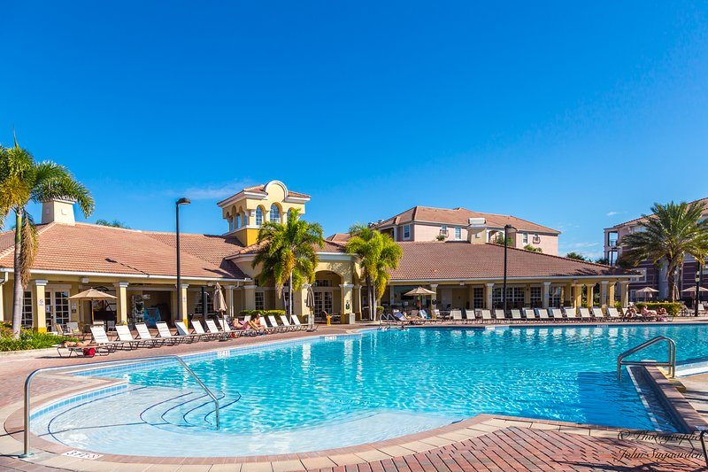 Resort clubhouse and sparkling main pool