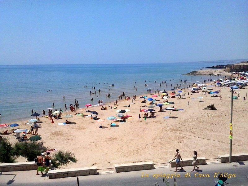Fine sand beach, low bottoms ideal for children