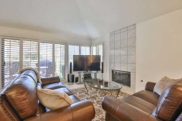 Comfy living area has brand new sofas/chair (as of 3/2018), flat screen and fire place