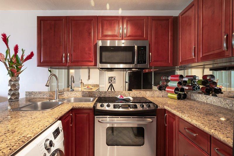 LG todo en una lavadora y secadora en la cocina, manteniéndolo limpio.