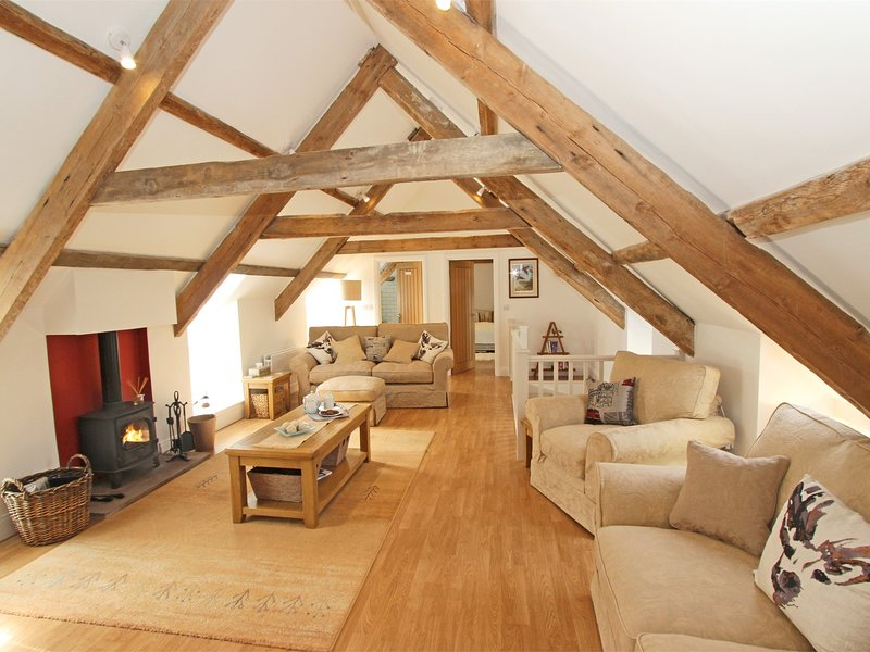 First floor lounge with stunning oak beams