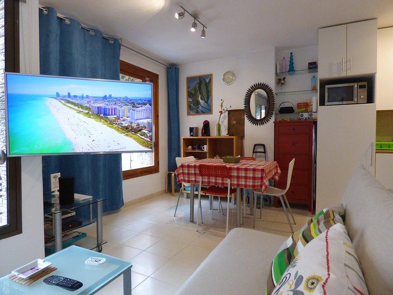 """vue de la télé du canapé. Smart TV Samsung UHDR4K 40 """""""