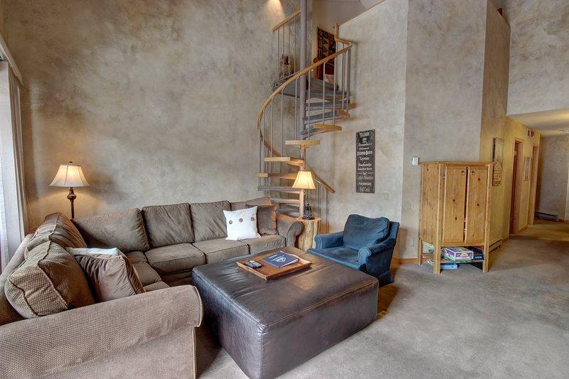 Grand salon confortable avec cheminée et vue imprenable sur les pistes. assez proche pour marcher et sauter sur la montagne.