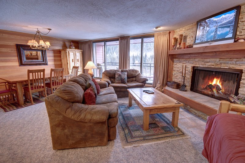 open and cozy living room. Lots of natural lighting.
