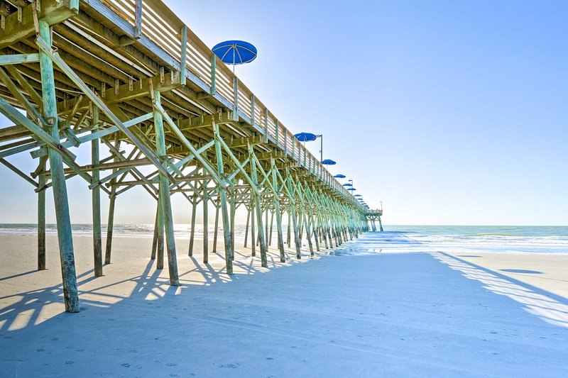 Located in Garden City, the condo is just steps from the beach!
