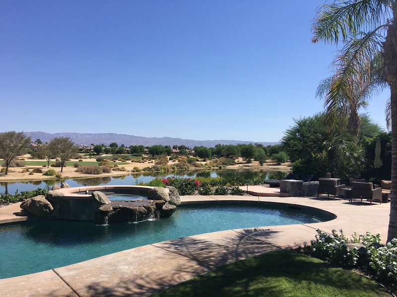 Enjoy your own private pool and spa overlooking the lake and fourth hole on PGA West Norman course