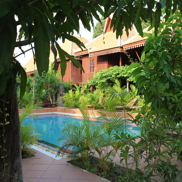 Angkor Rest Villa is luxurious residence decorated in a style of Khmer-style house.