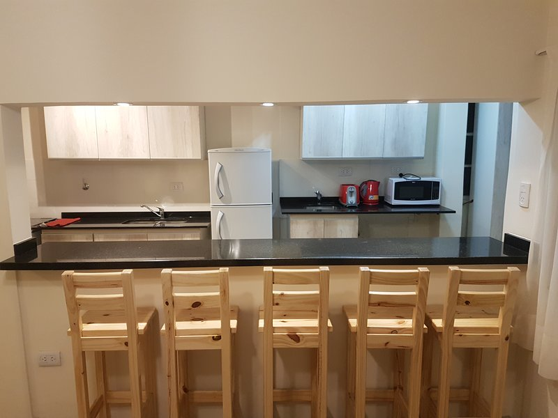 Cocina completamente equipada, mas barra. Fully equiped kitchen and bar