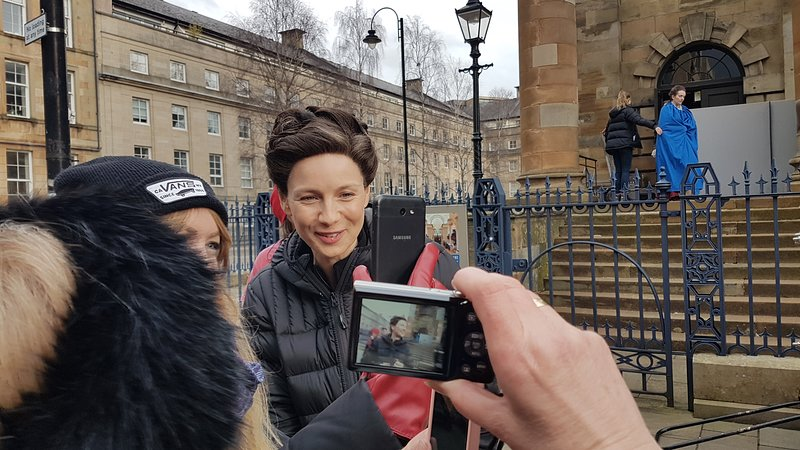 Claire from Outlander while filming at Church outside the apartment