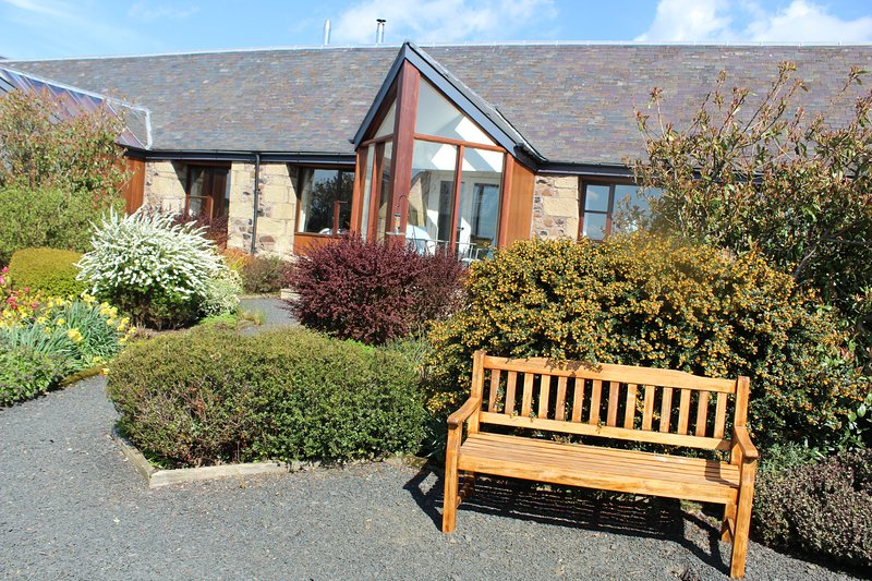 Come and relax in your cottage garden, admire the views over the Eden Water to the Cheviot Hills.