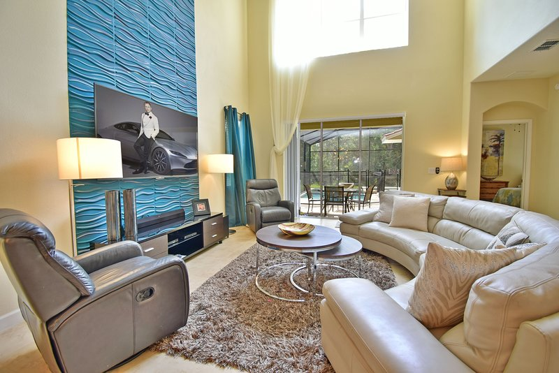 Two story spacious family room