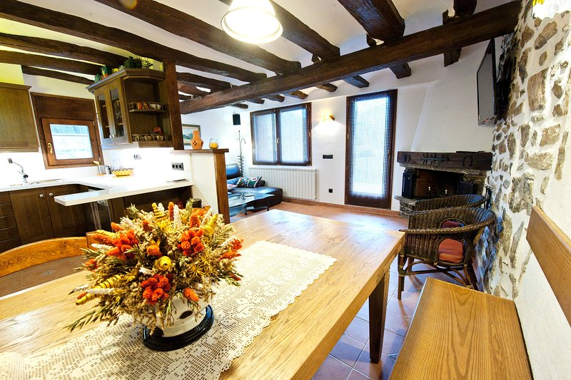 Dining table and dining room with fireplace