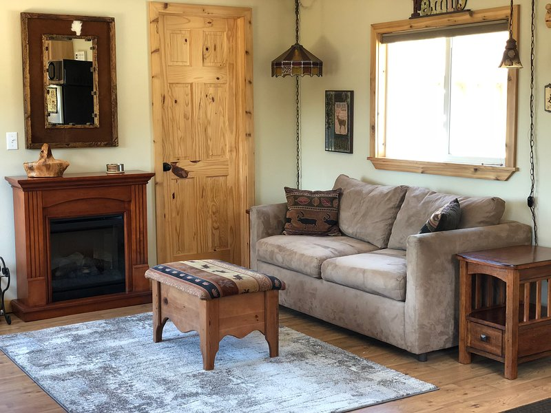 Sofá-cama e lareira elétrica na cabine principal.