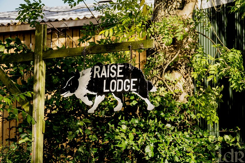 The hand-painted sign welcoming you to Raise Lodge.