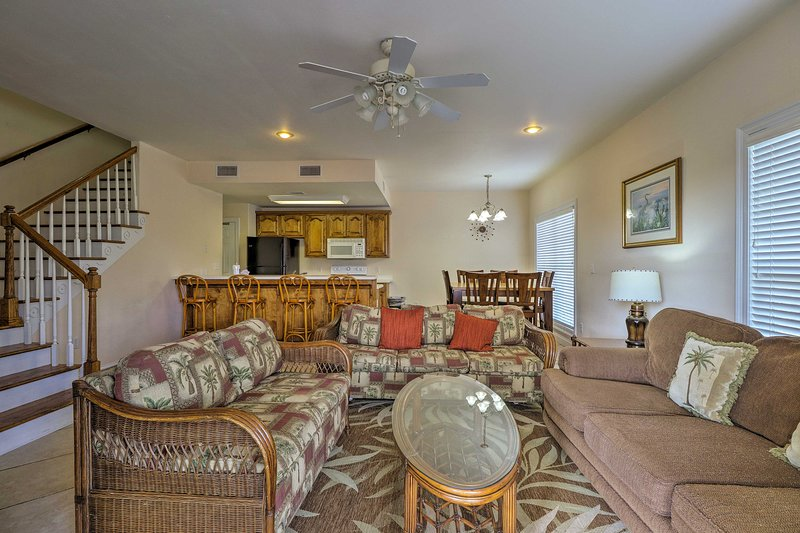 The 3-BR, 2.5-bath vacation rental duplex home accommodates up to 17 guests.