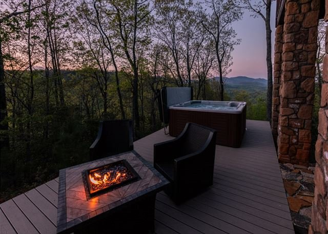 Back deck with incredible mountain views.
