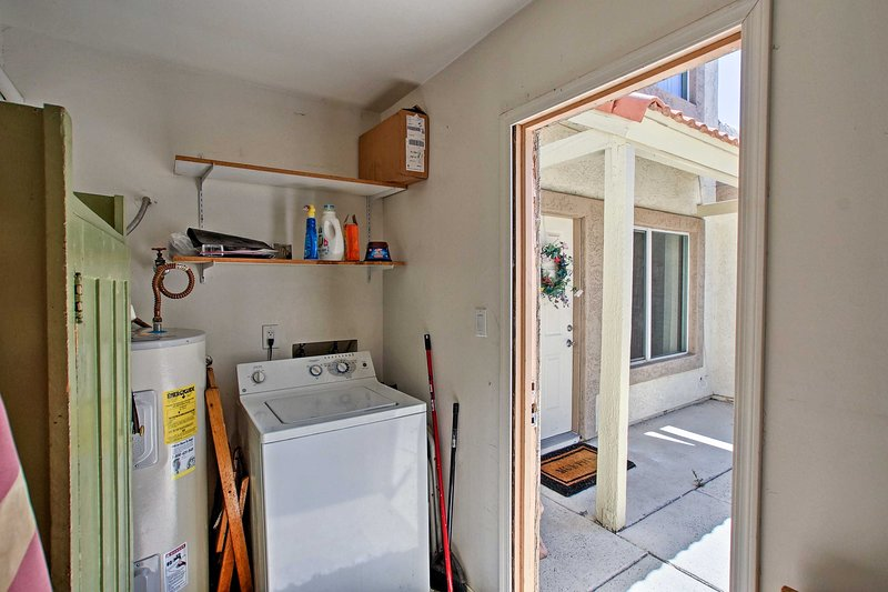 Keep your wardrobe fresh with the private laundry room ,located right off the front porch!