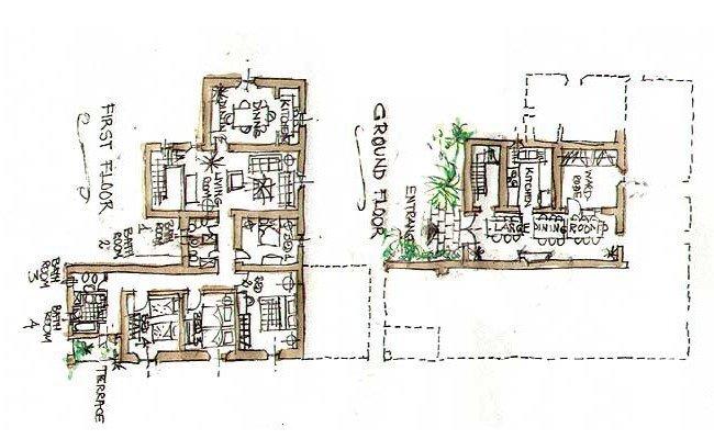 La Collinaccia villa - floor plans