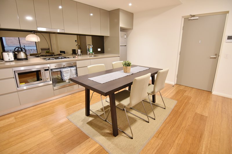 A fully decked & equipped kitchen/dining area for 4.