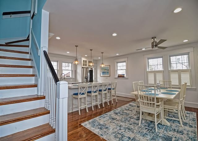 Open concept dining and kitchen area.