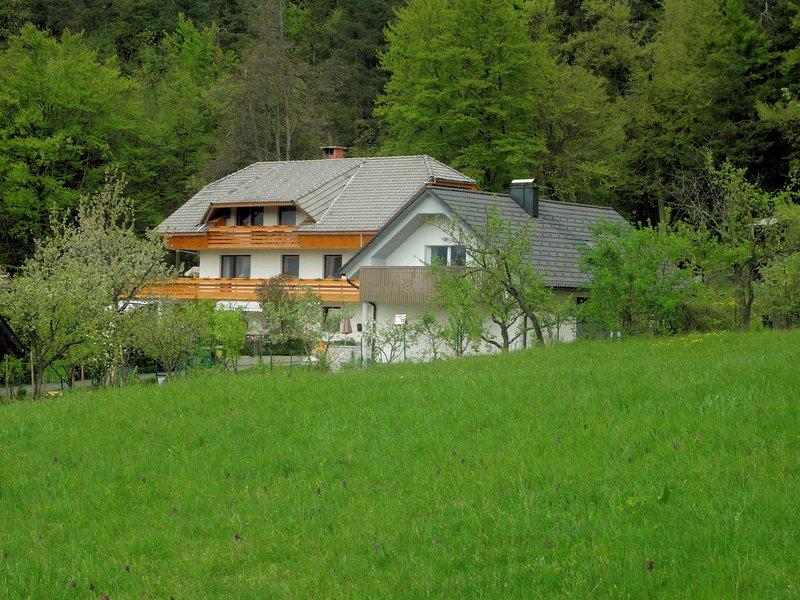 Blick auf das Haus von der nahe gelegenen Wiese.