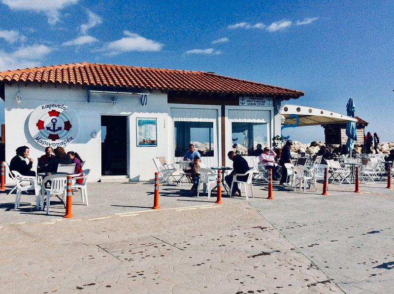 Coffee at Marinoparea at Zygi harbour.Dalla's Cyprus Retreat, Maroni Village,Larnaca district Cyprus