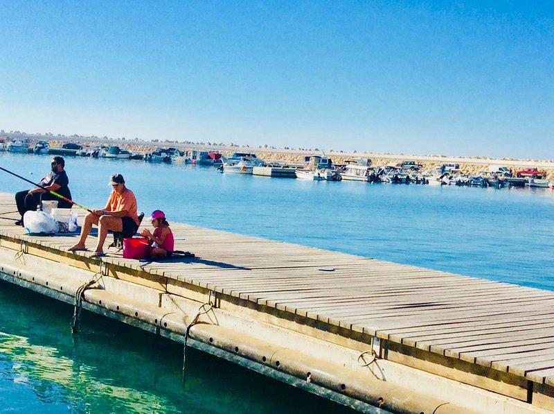 Fishing at Zygi harbour. Dalla's Cyprus Retreat, Maroni village,Larnaca district, Cyprus.