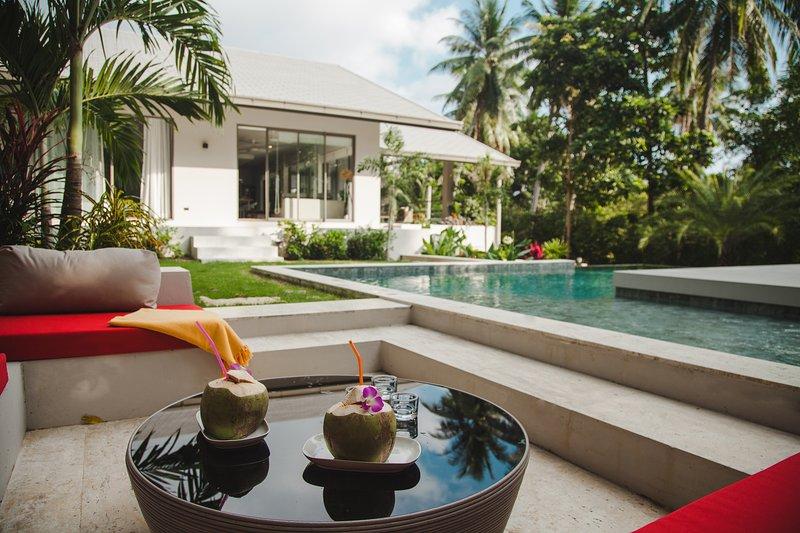 The villa has contemporary artistic interior design, spacious bedrooms and living spaces.