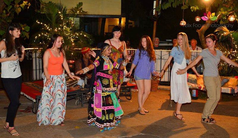 Social dancing at Earthen Oven restaurant Candolim