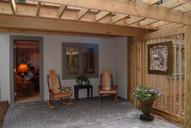 Large, private patio entrance