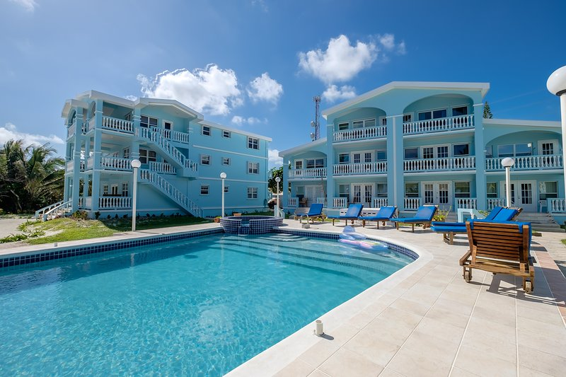 Immaculate pool for Sunset Beach guests. Your condo is on the ground floor unit of the left building