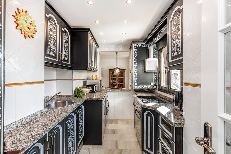 Fully equipped modern kitchen with high end appliances, Puerto Banus, costa del Sol Spain