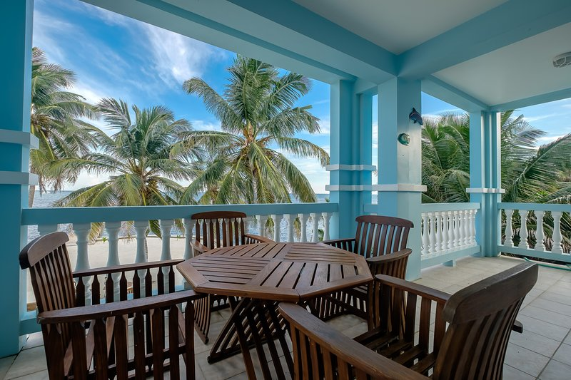 Have coffee, meals and cold drinks here on your expansive 2nd floor balcony facing the Caribbean!
