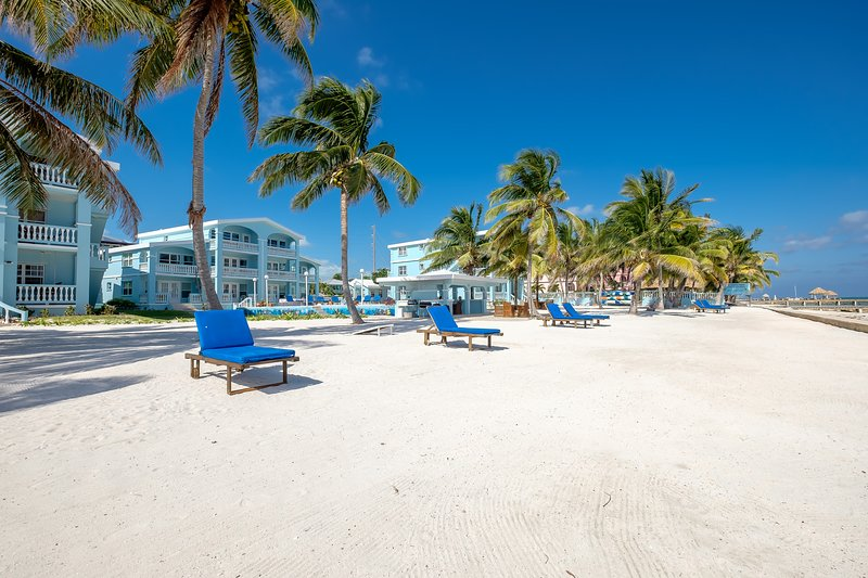 View from the beach. Relax in one of these comfortable lounge chairs.