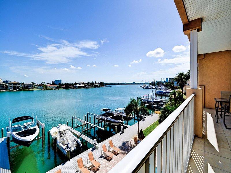 Balcony has panoramic view.