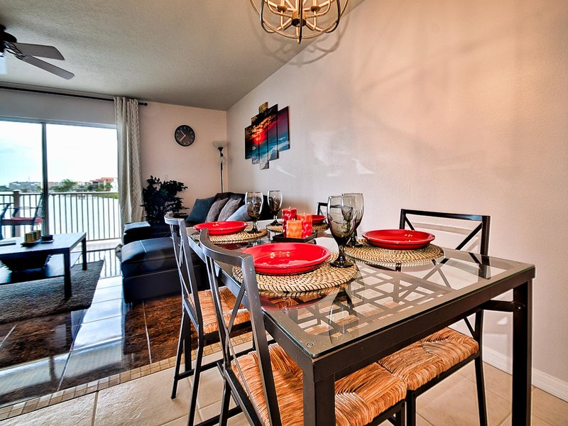 Dining area is perfect for casual meals in.