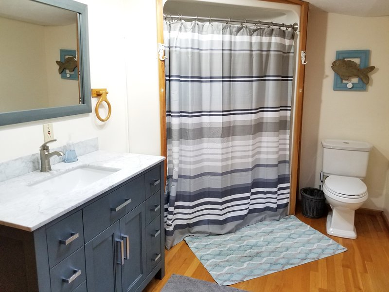 Second floor bathroom with tub/shower combo