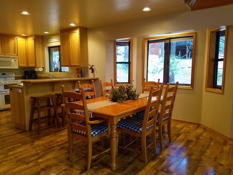 Enter into the living area. Open floor plan