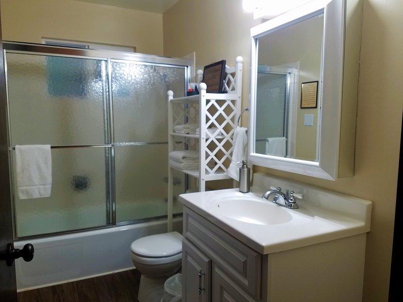 salle de niveau principal. salle de bain complète.