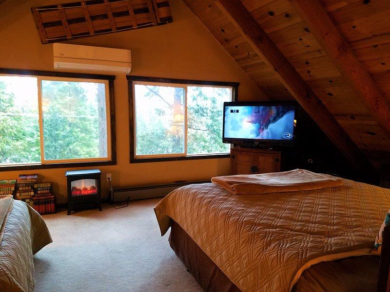 TV et cheminée électrique dans le grenier.