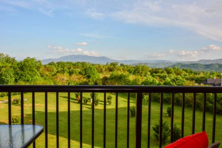 Balcony seating with view of the Smoky Mountains