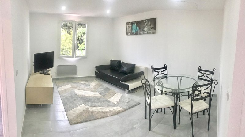 Living area with sofa bed, tv connected